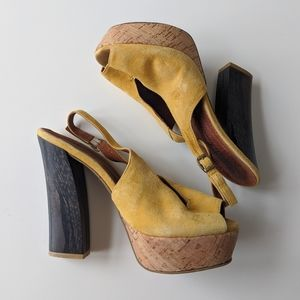 Sixtyseven Wooden Blocky Sling-back Heels size 37